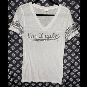 """PINK: Sports Shirt """"Los Angeles"""" Silver sparkly"""